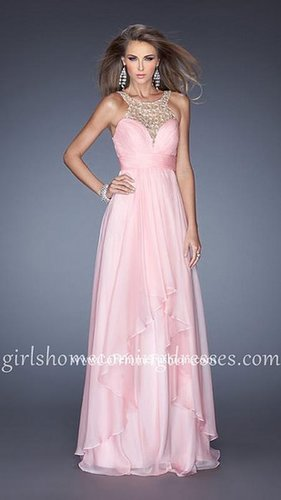 A Line Halter Neckline Elegant Cheap Cotton Candy Pink Evening Gown