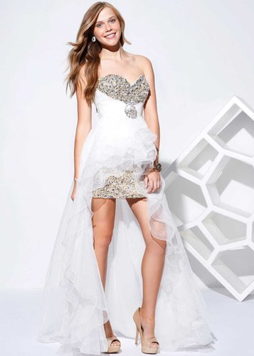 Homecoming Dress Shimmery White Sequin Bodice High Low
