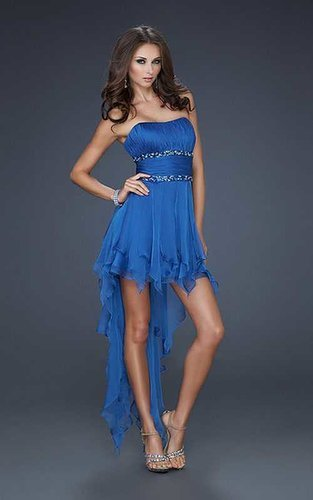 Prom Dresses Short Front Long Back Navy Pleated High Quality