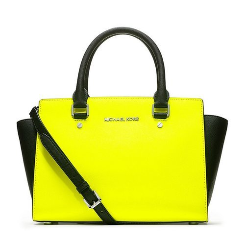 $218.00 MICHAEL BY MICHAEL KORS YELLOW MEDIUM SELMA SAFFIANO SATCHEL