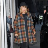 Taylor Swift Wearing a Plaid Coat Street Style