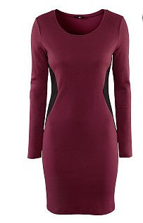 A Burgundy Dress with Black Side Panels, the color blocking is slimming