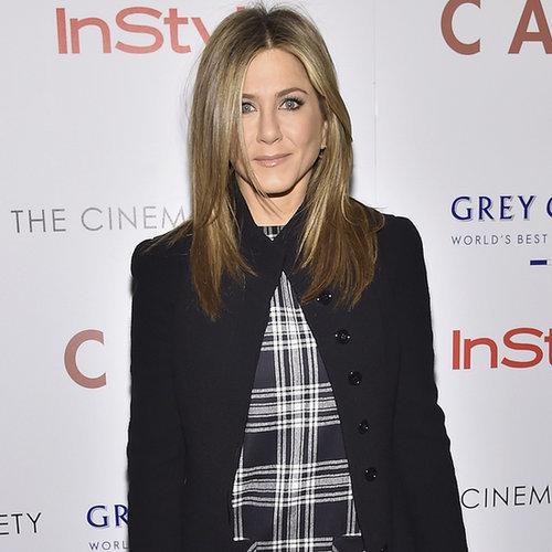 Jennifer Aniston Wearing a Plaid Dress | Street Style