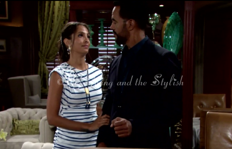 Lily Winters striped dress The Young and the Restless