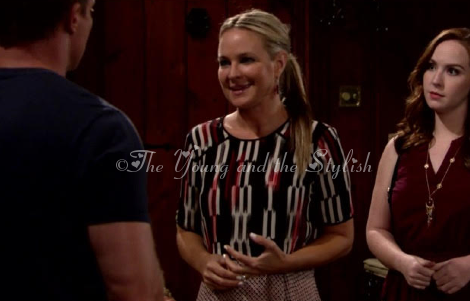 sharon newman layered printed top the young and the restless