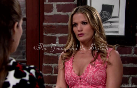 chelsea newman pink top the young and the restless