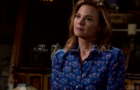 phyllis newman blue floral shirt the young and the restless gina tognoni