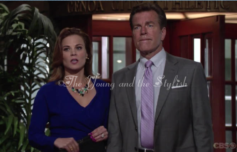 phyllis newman blue statement necklace the young and the restless
