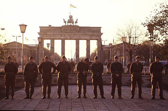 At the Brandenburg Gate, 1989 - These East German soldiers are trying to block entry into the West on the afternoon of Nov. 11 -- the night the Wall came down