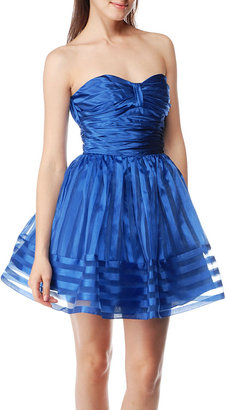 Betsey Johnsons Charmeuse &amp; Striped Organza Dress
