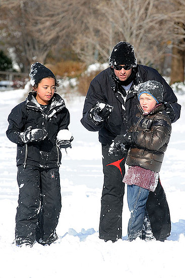 Hugh Jackman having fun in the snow with the kids