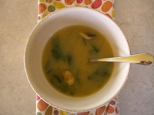 Miso Soup with Tofu and Baby Spinach