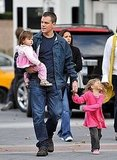 Photos of Matt Damon and His Kids on Set