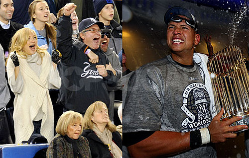 Photos of Kate Hudson, Kurt Russell, Minka Kelly, Alex Rodriguez, Celebrity Sports, And Mark Teixiera Celebrating the Yankees