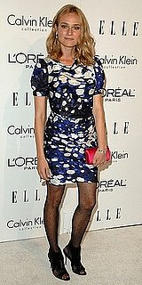 Diane Kruger Wears Blue and White Balenciaga Dress and Polka Dot Tights