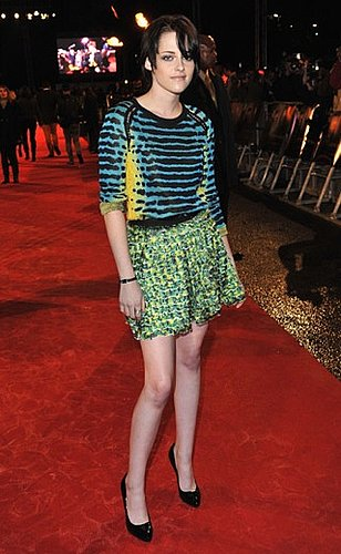 Kristen Stewart Attends London Premiere of New Moon in Colorful Proenza Schouler Spring 2010 Dress
