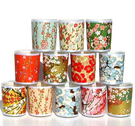 Made of gorgeous Japanese chiyogami paper, these 12 Party Votives ($54) have girlish florals with Eastern elegance.