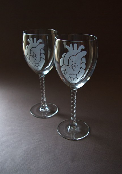 Zombies love brains, but all monsters are after your heart. Remember that when you sip wine from a Heart Wine Glass ($20) made from reclaimed glass.