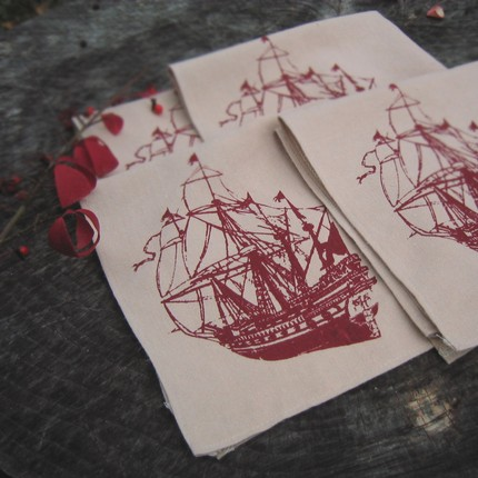 Keep an eye out for paranormal pirates when you set your table with these Ghost Ship Hemp Napkins ($32).