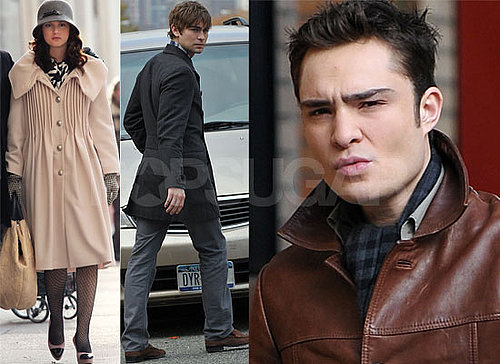 Gallery of Photos of Gossip Girl Cast Chace Crawford, Ed Westwick and Leighton Meester Filming, Threesome Storyline Controversy