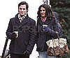 Slide Photo of Jessica Szohr and Penn Badgley Drinking Coffee on the Set of Gossip Girl