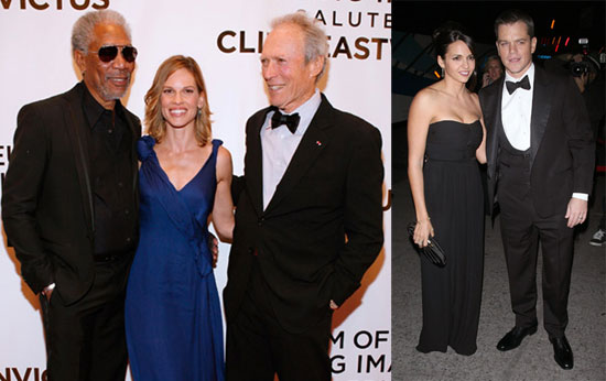 Photos of Matt Damon, Luciana Damon, Morgan Freeman, Hilary Swank, Kevin Bacon, Kyra Sedgwick Honoring Clint Eastwood