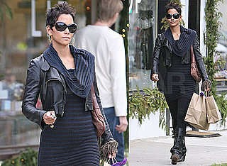 Photos of Halle Berry Shopping in a Black Leather Jacket in LA