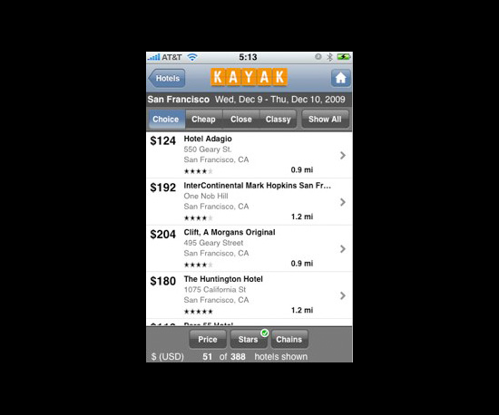 Book Travel With Kayak's New iPhone App