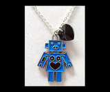 Enameled Robot Charm Necklace