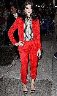 New Moon Star Ashley Greene Stops by David Letterman Wearing Red Striped Bottega Veneta Suit 2009-11-24 13:30:22