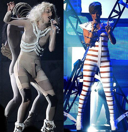Lady Gaga and Rihanna Performance Outfits at 2009 American Music Awards