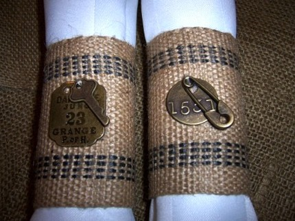These Burlap Napkin Rings ($24) feature vintage charms. Unique, trendy, and gorgeous.
