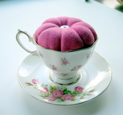 For the sewers you know, this Hand Dyed Vintage Linen Teacup Pincushion ($15) is not only sweet but useful.