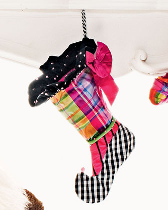 Always over the top, Mackenzie-Childs created this wild Plaid Stocking ($78).
