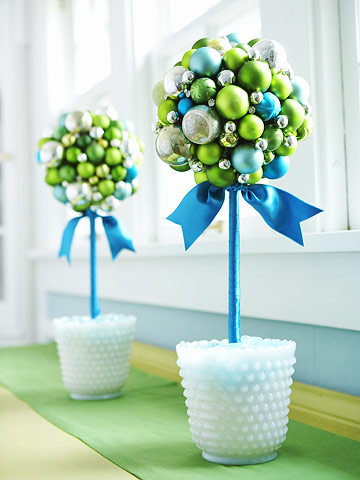 Better Homes and Gardens shows you how to create these cute ornament trees.