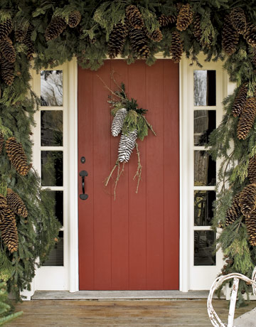 Spray paint pinecones in a metallic silver or gold to add some holiday glam to a more country-oriented accessory. Source