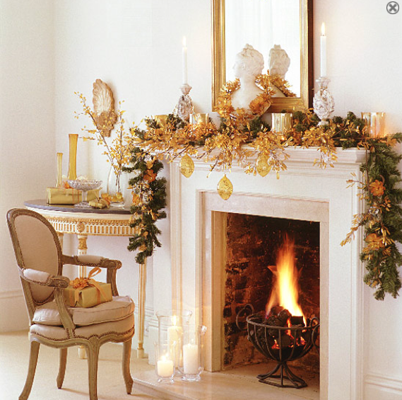 Go for a glam garland by using gold accents.  Source