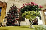 Laura Bush decorated the White House with pears and tulips last year. Nontraditional elements like these are a great way to mix things up this holiday.