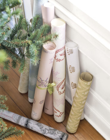 Use old wallpaper samples as gift wrap. Source