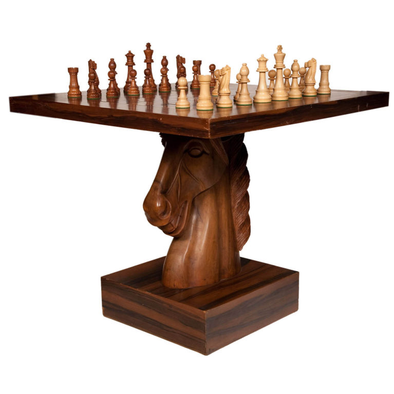 Chess fan why not play a match on this horse head chess table trend alert high end - Wooden chess tables ...
