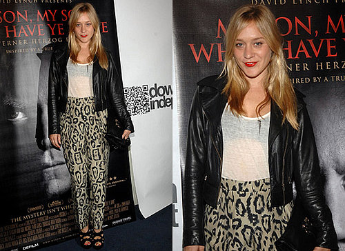 Photos of Chloe Sevigny in Leopard Print Trousers, Pants, at LA Premiere