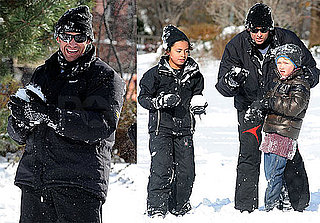 Photos of Hugh Jackman Playing In The Snow With His Kids