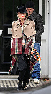 Gwen Stefani in London Wearing Commes De Garcons Cropped Trench and Plaid