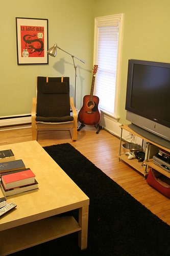 The den offers plenty of opportunities for kicking back, from movies and music to reading.
