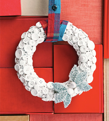 ReadyMade can help you turn household items, like buttons, into a Winter wreath your friends will cherish year after year.