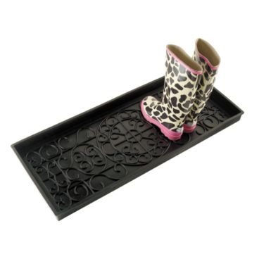 "When the weather outside is frightful, you should make sure not to ""let it snow"" indoors by placing a beautiful French Axis Rubber Boot Tray ($26) outside your door."