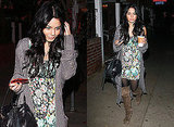 Vanessa Hudgens in Grey Knitwear with Floral Dress and Over the Knee Boots