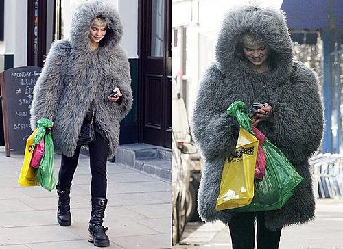 Photos of Pixie Geldof in Giant Grey Fur Coat in London