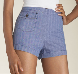 18th Amendment 'West' Denim Shorts in Herringbone
