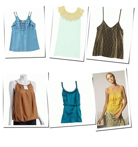 Shopping Spread: Silk Tanks In Earth Tones
